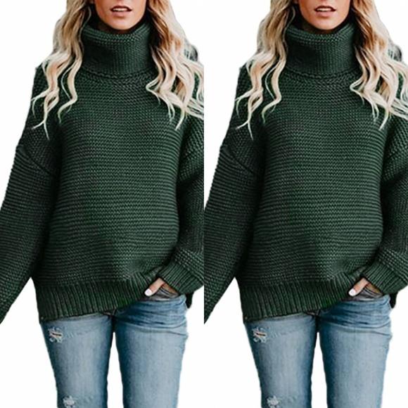 2c52a2e3b6340 Plus Size Oversized Green Sweater